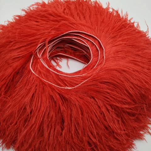 Премиум Тесьма  из перьев страуса на нитке в 2 слоя h 10-15 см., красный ,метраж