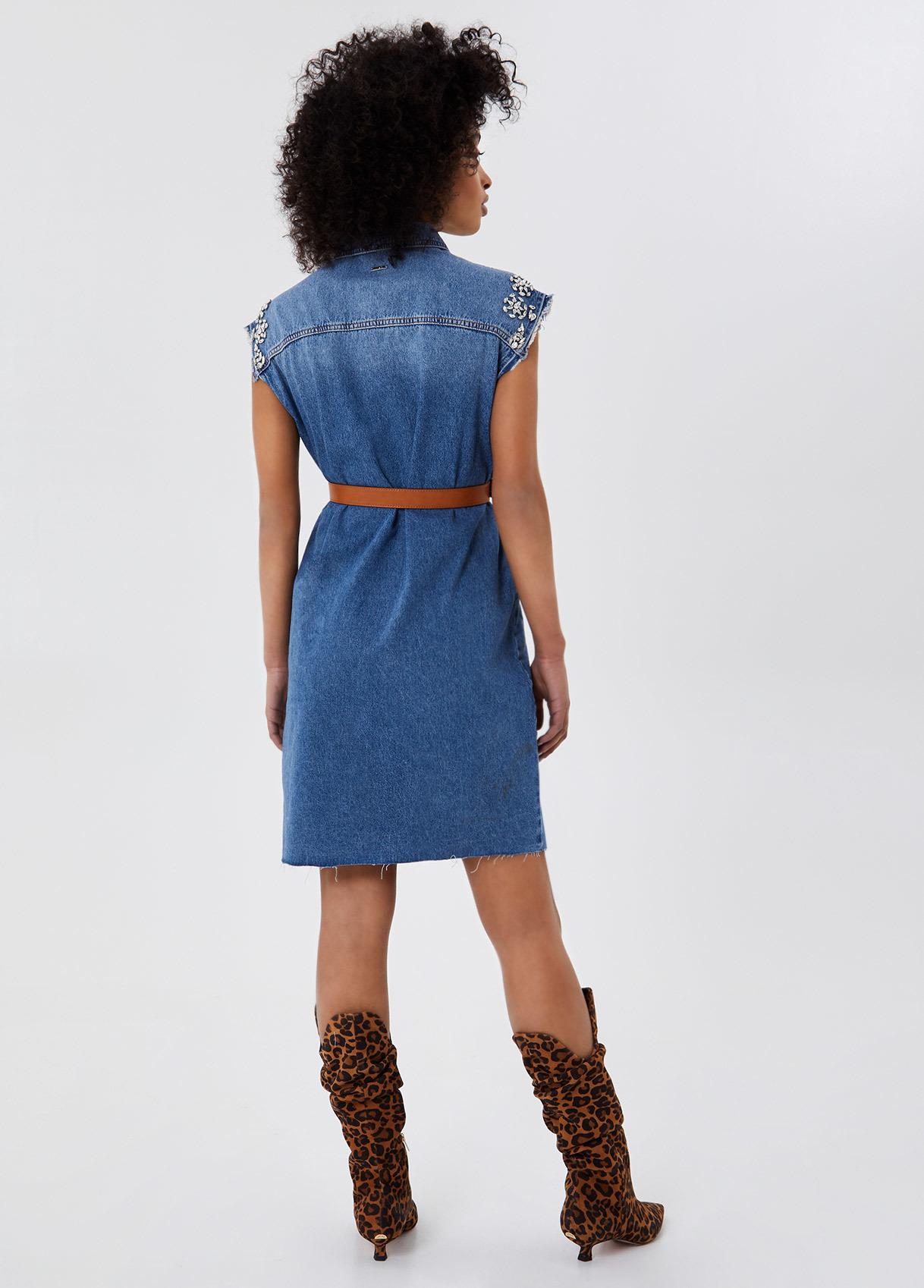 Liu Jo Платье джинсовое с декором из камней