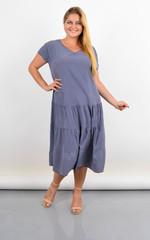 Твіст. Сукня з v-подібним вирізом для повних. Синій ромб.
