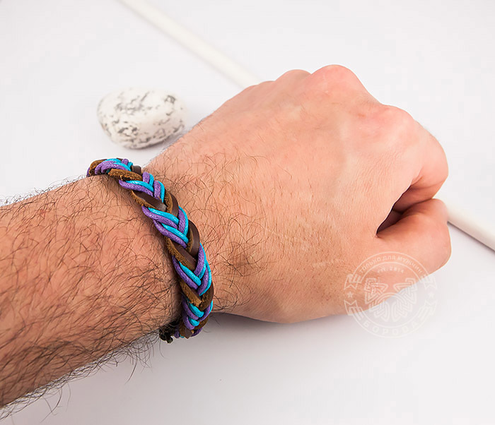 SL0185 Яркий плетеный мужской браслет из натуральной кожи, «Spikes» фото 07