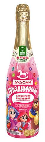 Дудоли напиток газированный с игрушкой «Клубнично-вишневый» с витаминами 0,75л