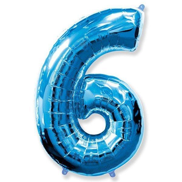 Фольгированная цифра 6, синий