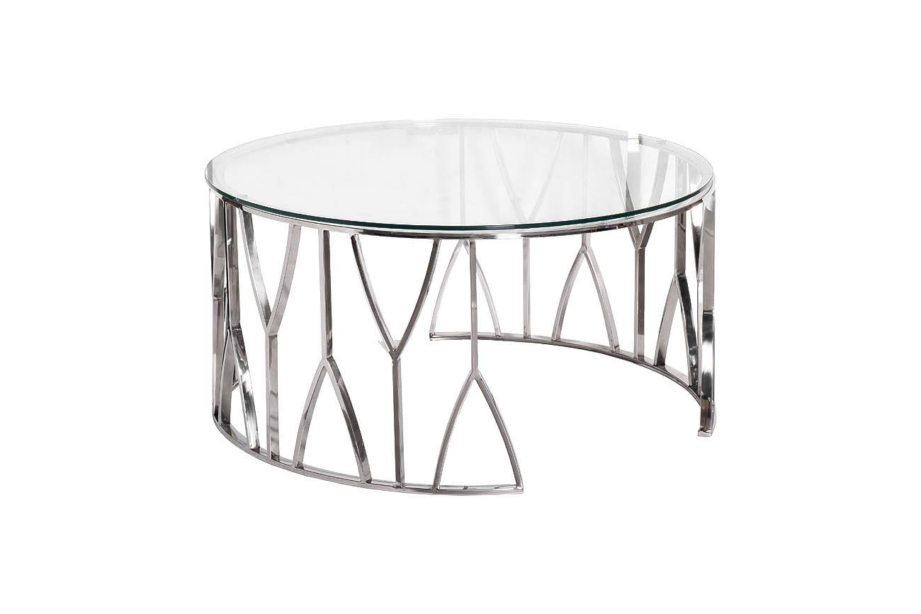 13RXCT3104-SILVER Стол журнальный стекло прозр./серебро d90*45см