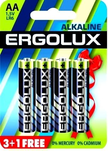 Э/п Ergolux LR6 Alkaline BL-3+1FREE