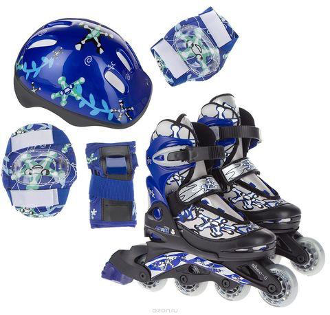 PW-780 Набор: коньки ролик, защита, шлем р. 34-37 цв.синий