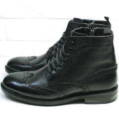 Зимние ботинки с мехом мужские LucianoBelliniBC3801L-Black .