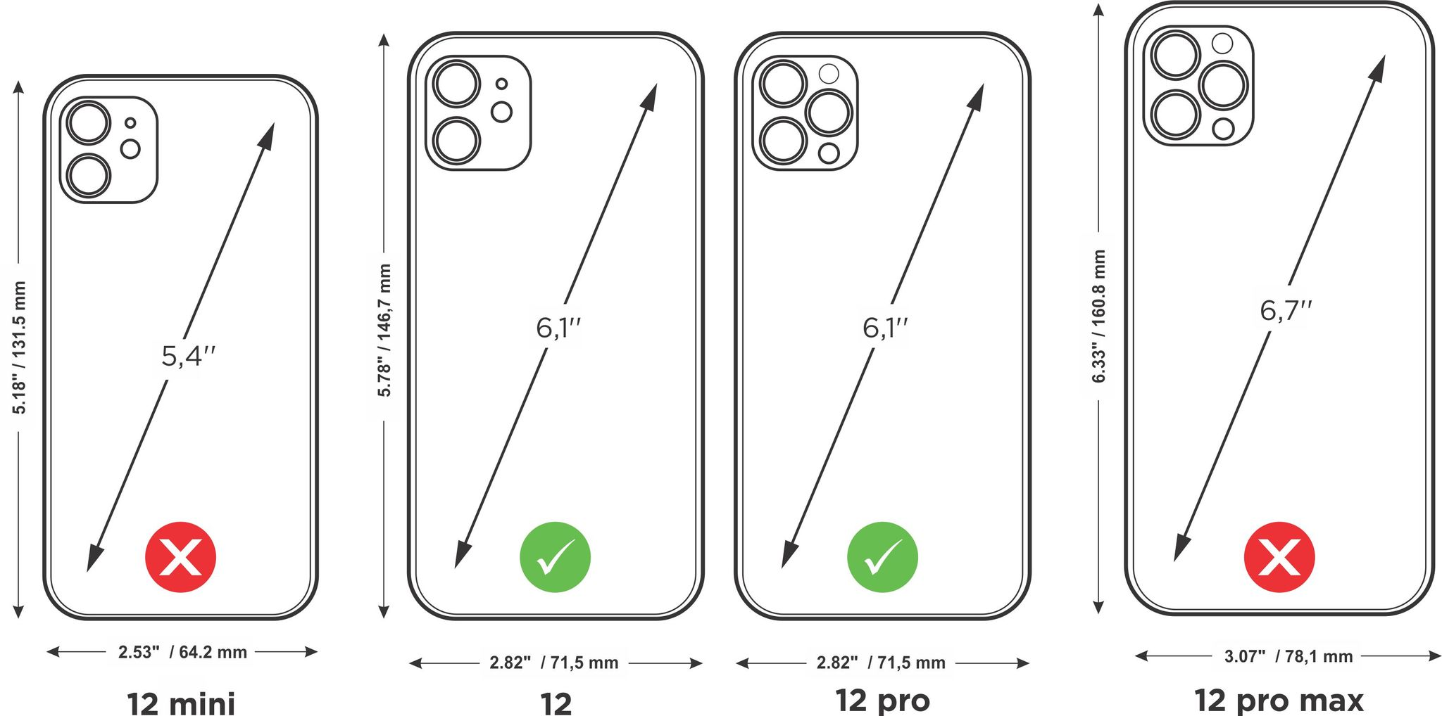 Case for iPhone 12 & 12 Pro - cherry