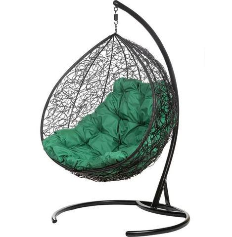 Двойное подвесное кресло Liverpool Twin Black зеленая подушка