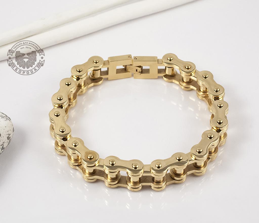 BM308 Стильный браслет-цепь из стали золотого цвета (23 см) фото 04