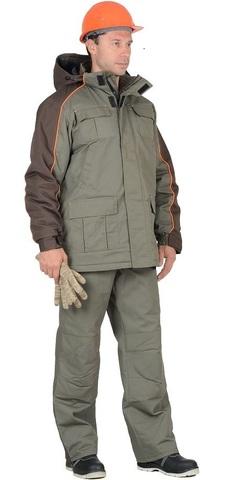 Костюм куртка, брюки, оливковый с темно-коричневым