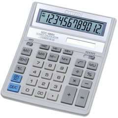 Калькулятор настольный ПОЛНОРАЗМЕРНЫЙ Citizen SDC-888XWH 12-разрядный белый
