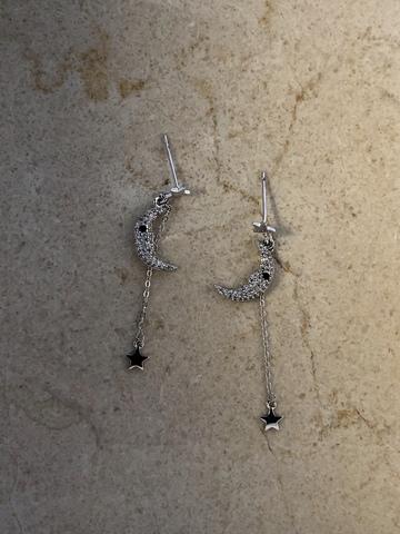 Серьги Дриами, серебряный цвет