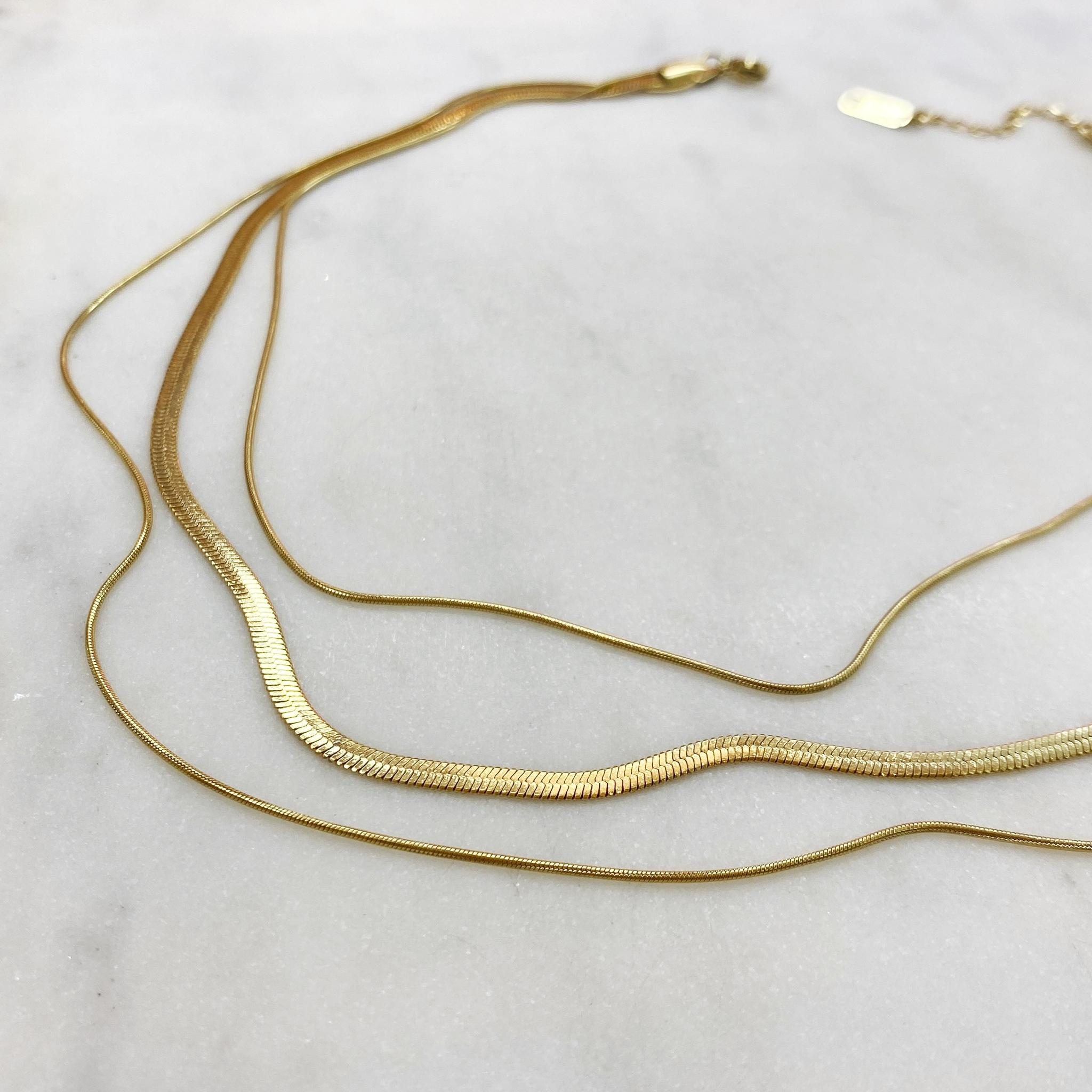 Колье из трёх цепочек сталь (золотистый)