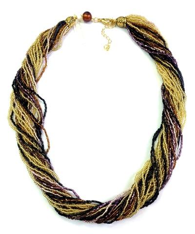 Бисерное ожерелье из 24 нитей цвет золотисто-черно-фиолетовый