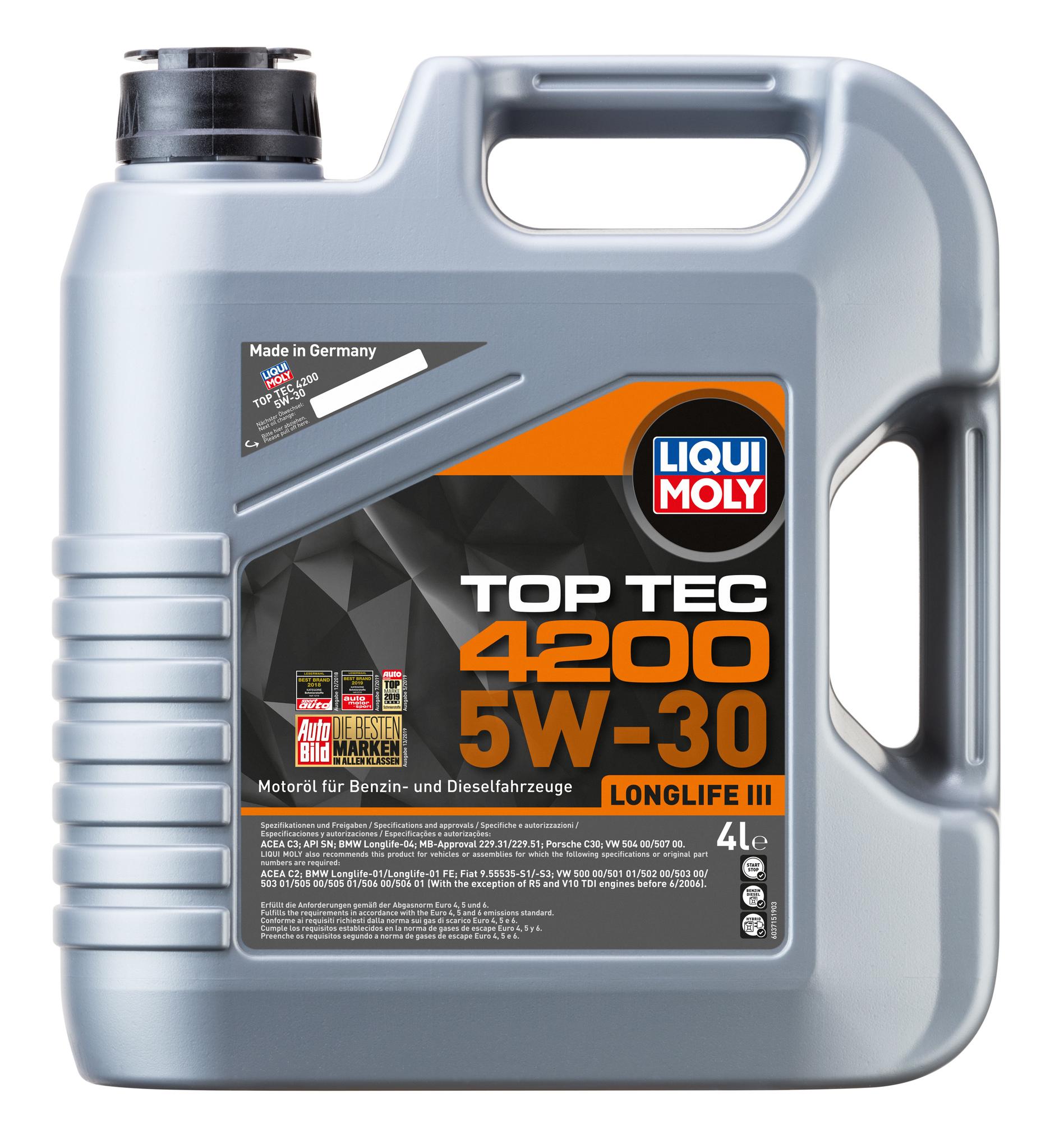 Liqui Moly Top Tec 4200 5W30 НС синтетическое моторное масло  для Volkswagen, Audi (3715)