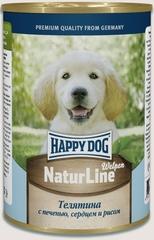 Консервы для щенков Happy Dog NaturLine Welpen, телятина с  печенью, сердцем и рисом