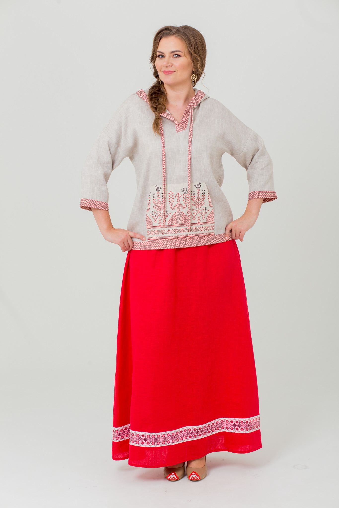 Блуза льняная с капюшоном Ася