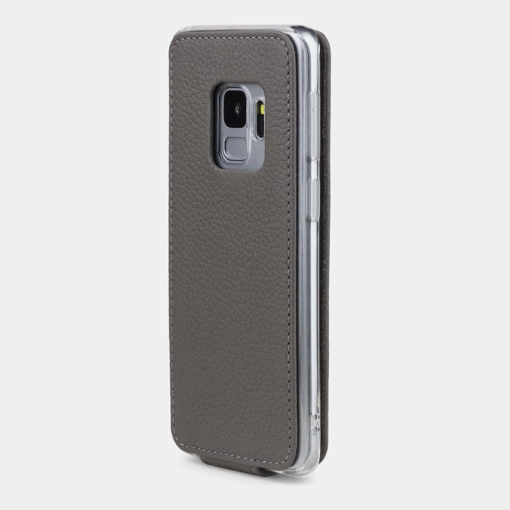Чехол для Samsung Galaxy S9 из натуральной кожи теленка, серого цвета