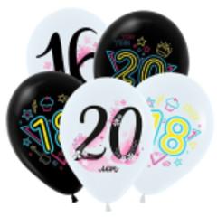Т 12''/30см, Модные цифры (Молодежные), Ассорти Пастель 2 цв. / 5 шт. /