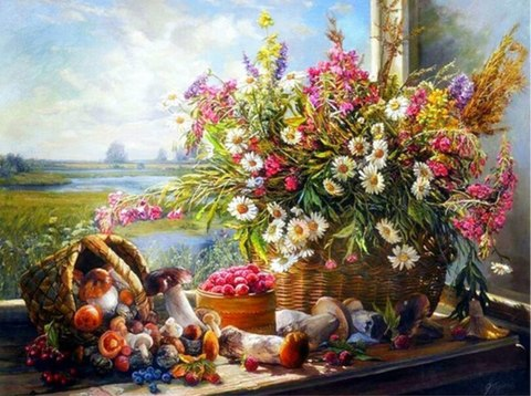 Алмазная Мозаика 40x50 Полевые цветы и грибы (арт. MGL8086 )