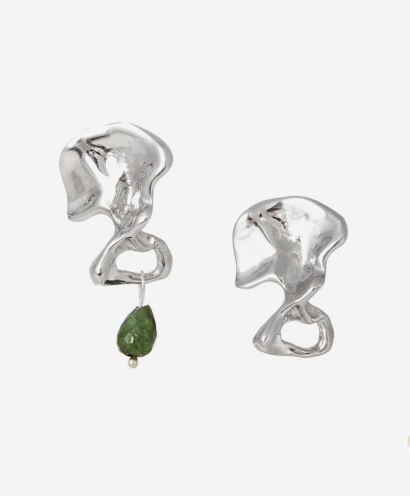 Серебряные косточки с турмалином