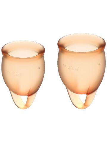Feel confident Menstrual Cup Orange Набор менструальных чаш, 2шт, 15 и 20 мл с петелькой