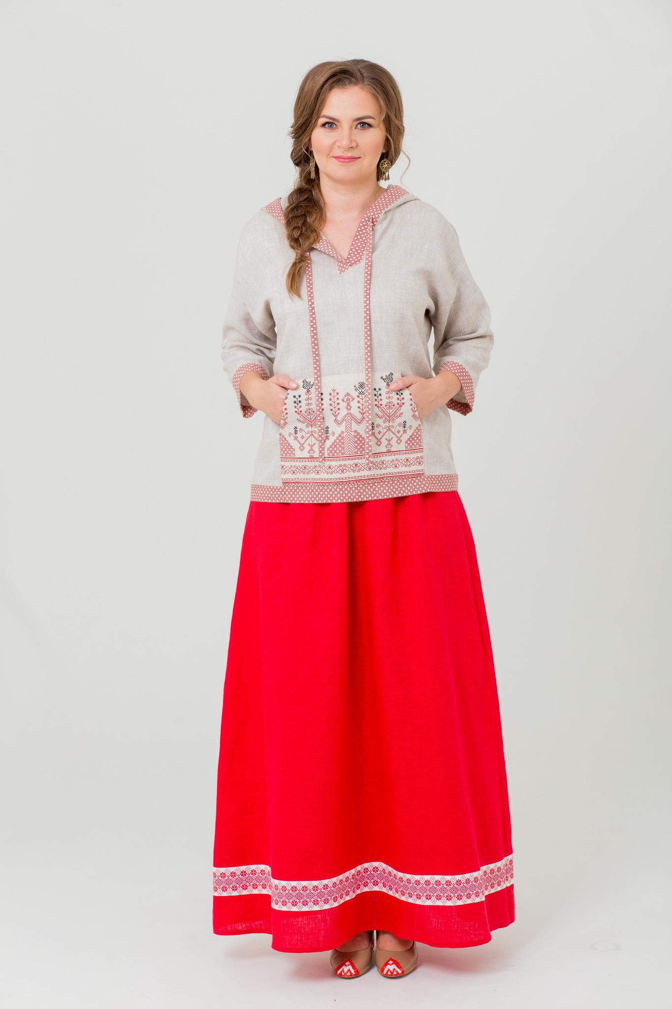 Блуза льняная с карманом Ася