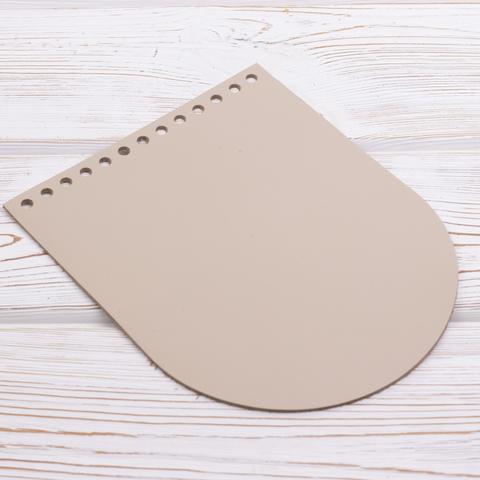 Клапан для сумочки кожаный Кремовый 19,5 см на 15,5 см