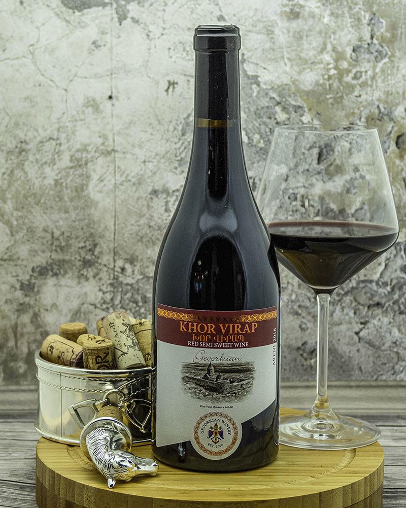 Вино Gevorkian Winery Хор Вирап Красное Полусладкое 2018 г.у. 12,0% 0,75 л.