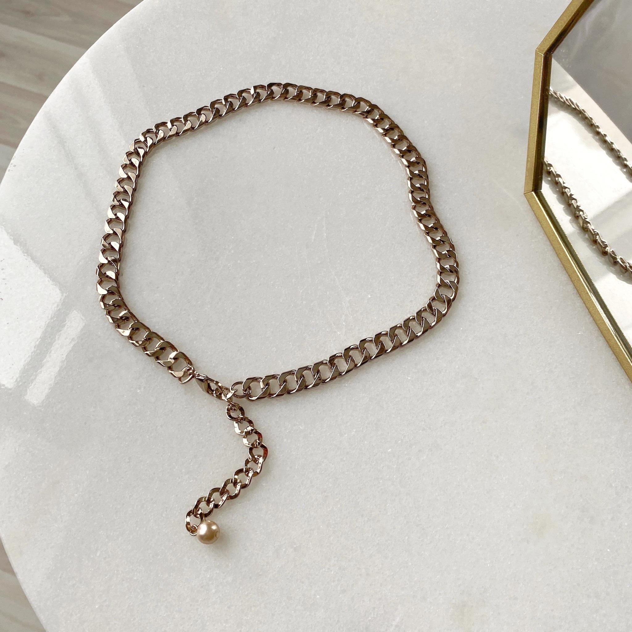 Колье-цепь панцирного плетения с декоративной цепочкой (брасс)