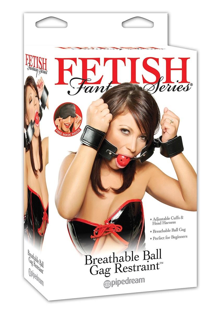 Кляп-наручники с красным шариком Breathable Ball Gag Restraint