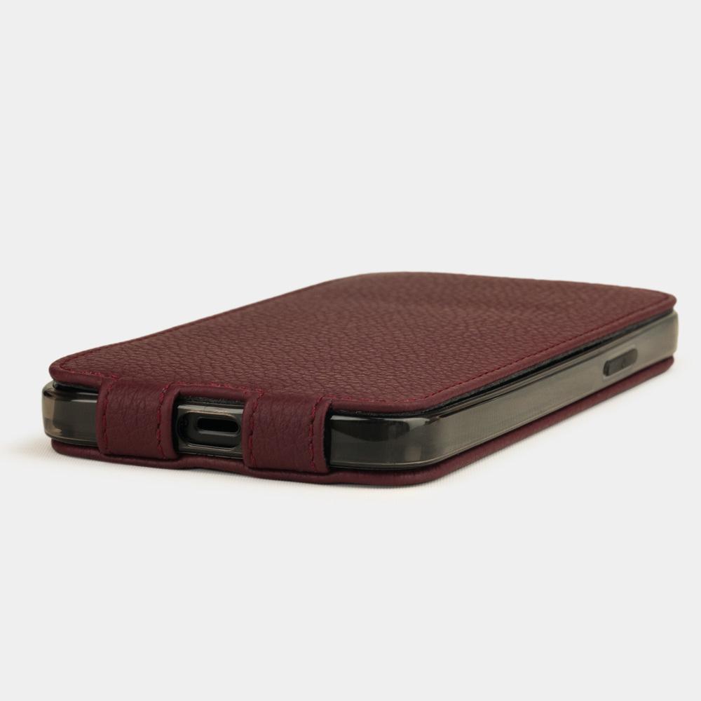 Чехол для iPhone 12/12Pro из натуральной кожи теленка, бордового цвета