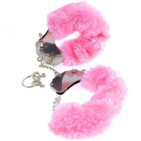 Металлические наручники с мехом Фантазия розовые