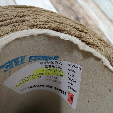 Хлопковый шнур Be.Mi.Va. CORDA 100 светло-коричневый