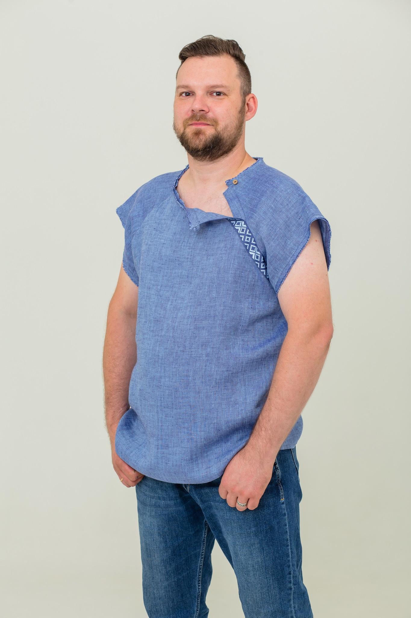 Льняная рубашка славянская с коротким рукавом