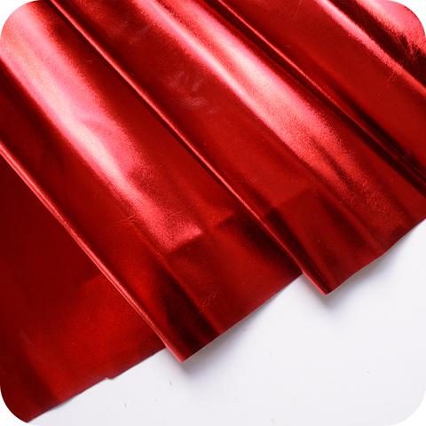 Кожзам метализированный на тканевой основе, цвет красный