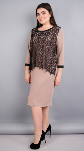 Вінтаж. Оригінальна жіноча сукня плюс сайз. Беж.