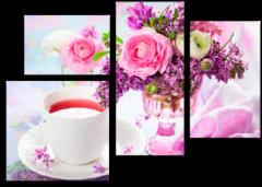 """Модульная картина """"Цветочный аромат чая"""""""