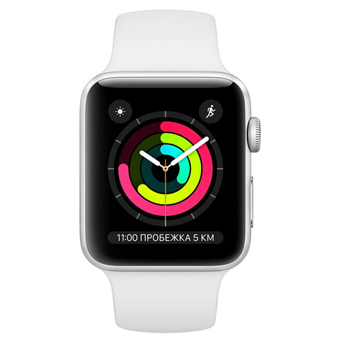 Умные часы Apple Watch Series 3 42mm Aluminum Case with Sport Band серебристый/белый