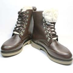 Ботинки кожаные женские зимние Studio27 576c Broun.