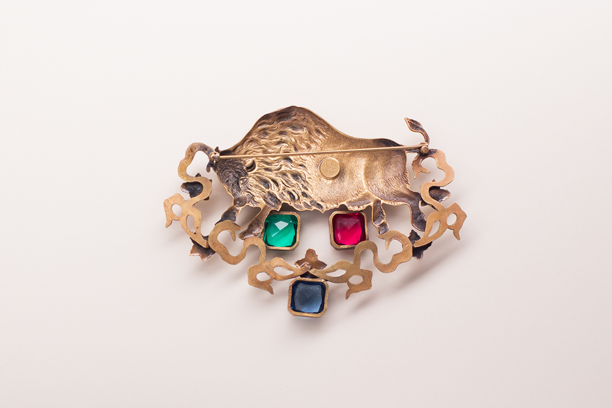 Spectacular bull brooch by Joseff of Hollywood