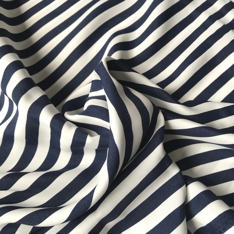 Ткань вискоза в темно-синюю полоску 3253