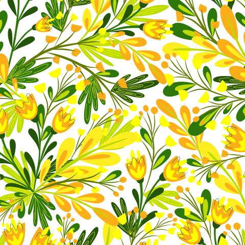 Цветочная поляна. Желто-оранжевые цветы. Цветочное лето