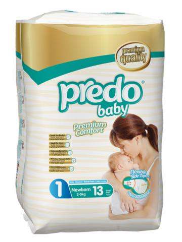 Predo. Подгузники Baby для новорожденных Стандартная пачка № 1 (2-5 кг Newborn), 13 шт.