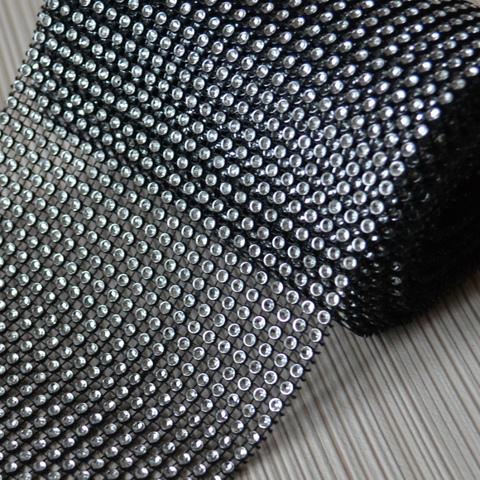 Стразовое полотно. Серебро на черном.