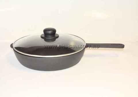 Сковорода чугунная 280х60 с литой ручкой (ЭКОЛИТ) со стеклянной крышкой