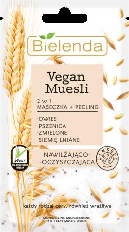 VEGAN MUESLI 2 в 1 увлажняющая маска+очищающий пилинг скраб пшеница+овёс + льяное семя 8 г