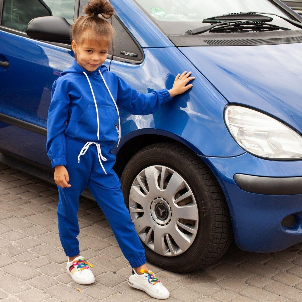 Дитячий спортивний костюм oversize синього кольору на дівчинку