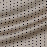 Бежево-розовый шёлковый атлас в темно-синий горох