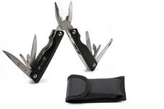 Мультитул Stinger, сталь/алюминий, (черный), 9 инструментов, нейлоновый чехол, короб.картон